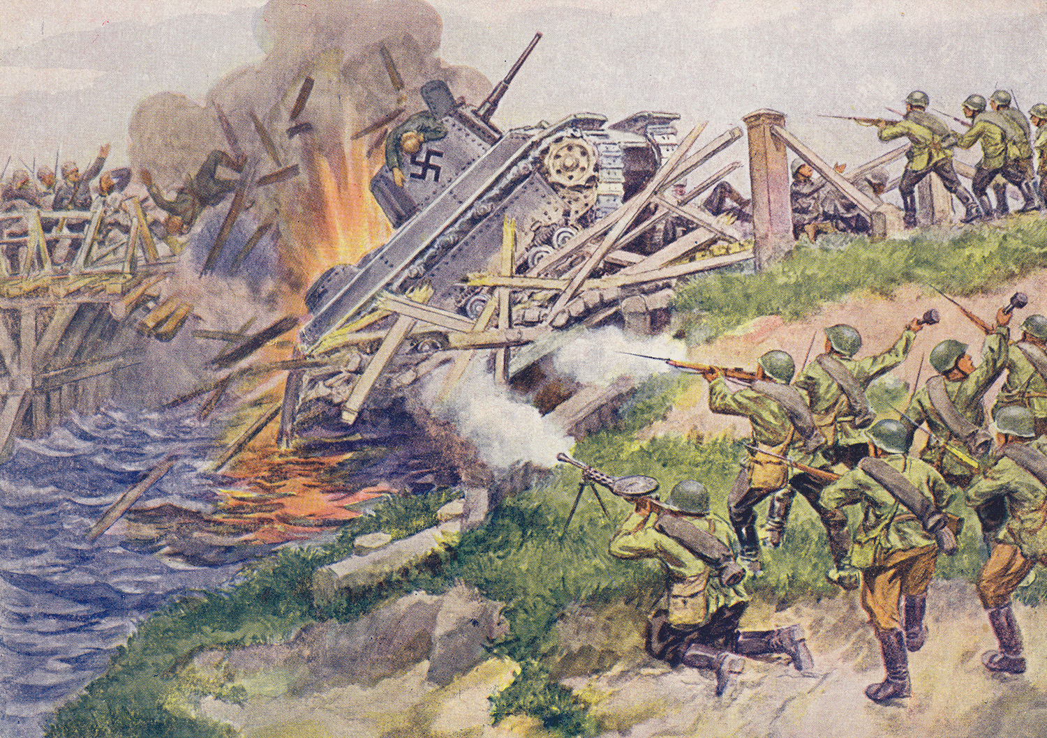 """Soviet WWII propaganda postcard, published in Leningrad during the blockade. Artist A. A. Andreev. """"Our reconnaissance soldiers detonate a bridge."""""""
