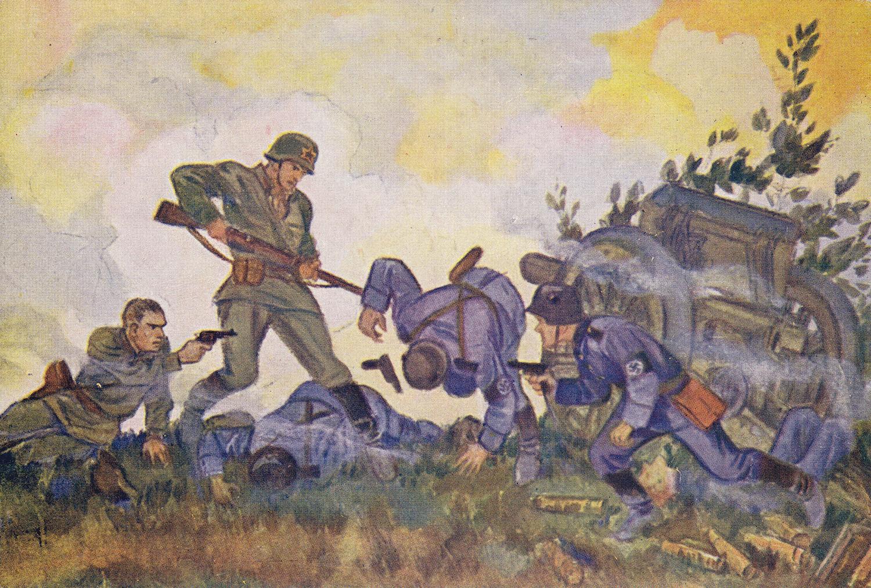 "Soviet WWII propaganda postcard, published in Leningrad during the blockade. Artist N. Kochergin. ""The end of a fascist battery"""