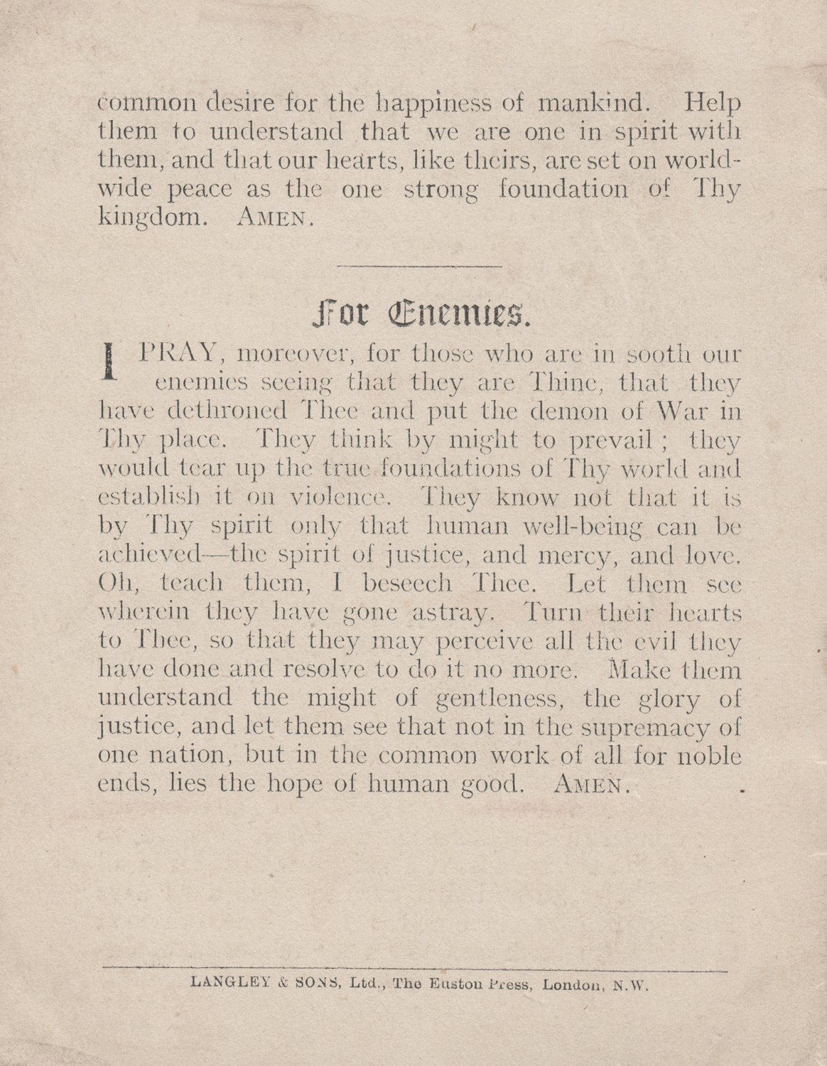 Prayers for private use by Jews in wartime. Prayer book, published in London in 1916.