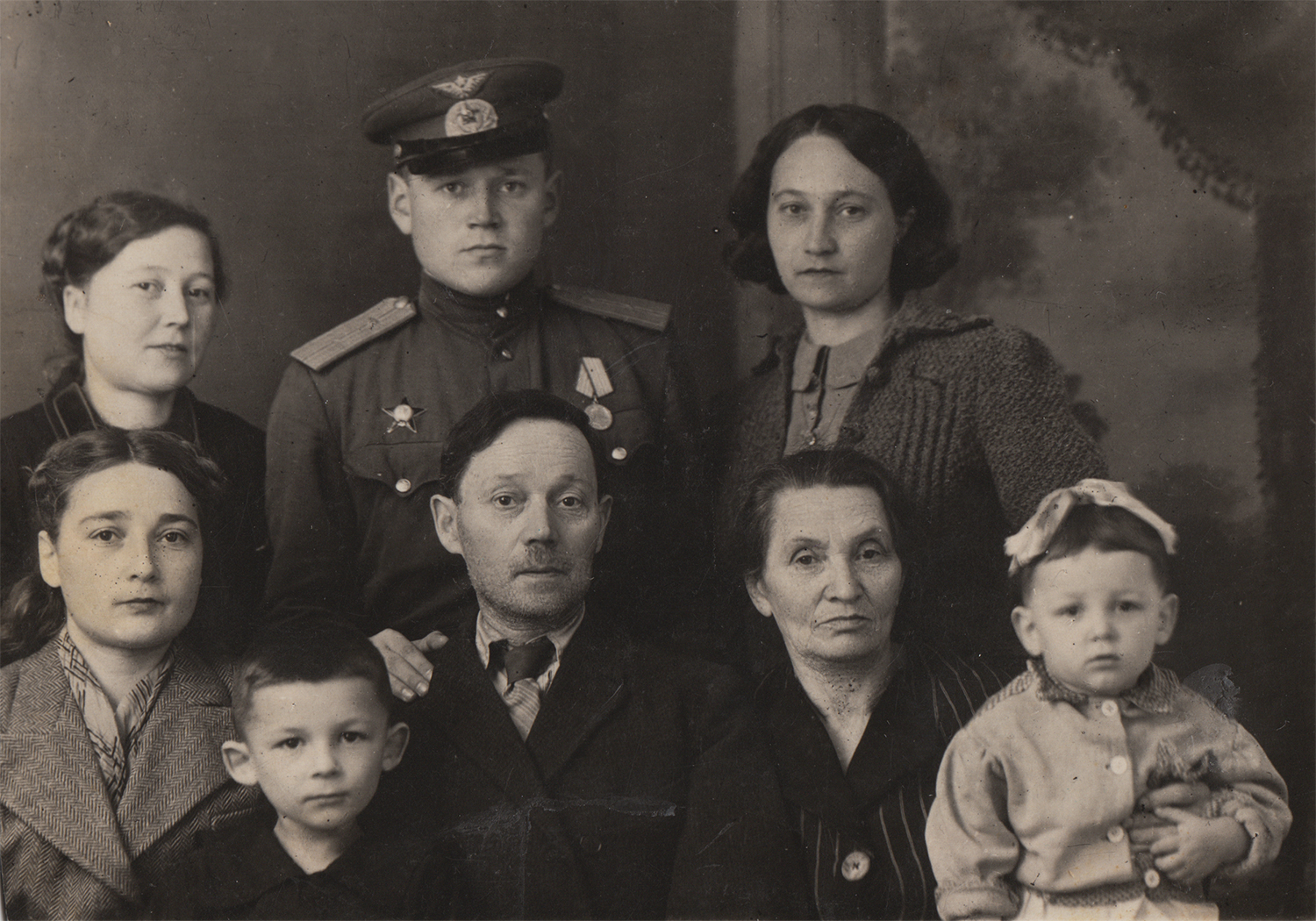 Gregory Fein (in uniform) with family, 1958