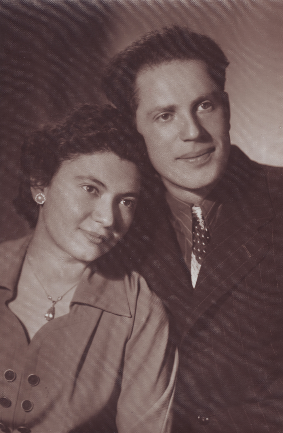 Vladimir and his wife, Nina, on their wedding day. Moscow, 1954