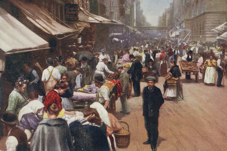 Illustration of a ghetto on Hester Street, New York, ca. 1900