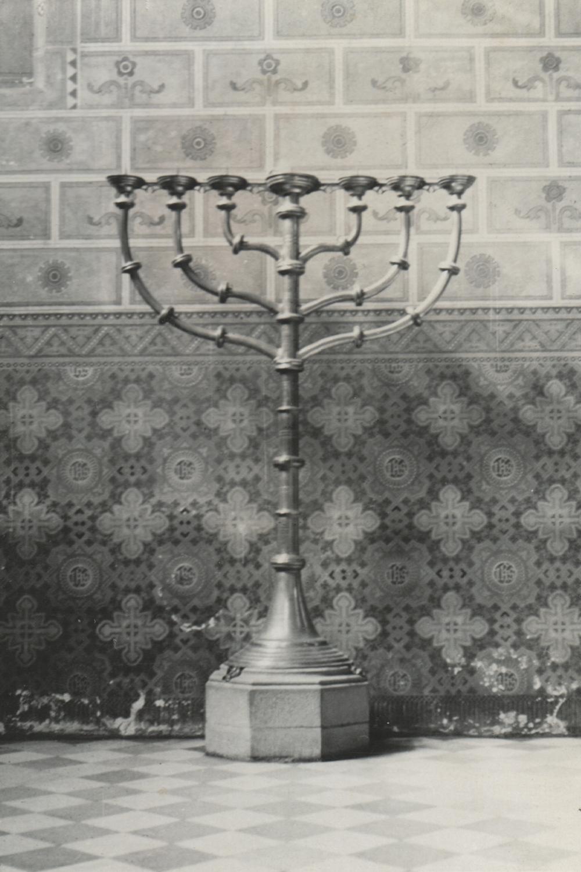 Black and white photograph of menorah