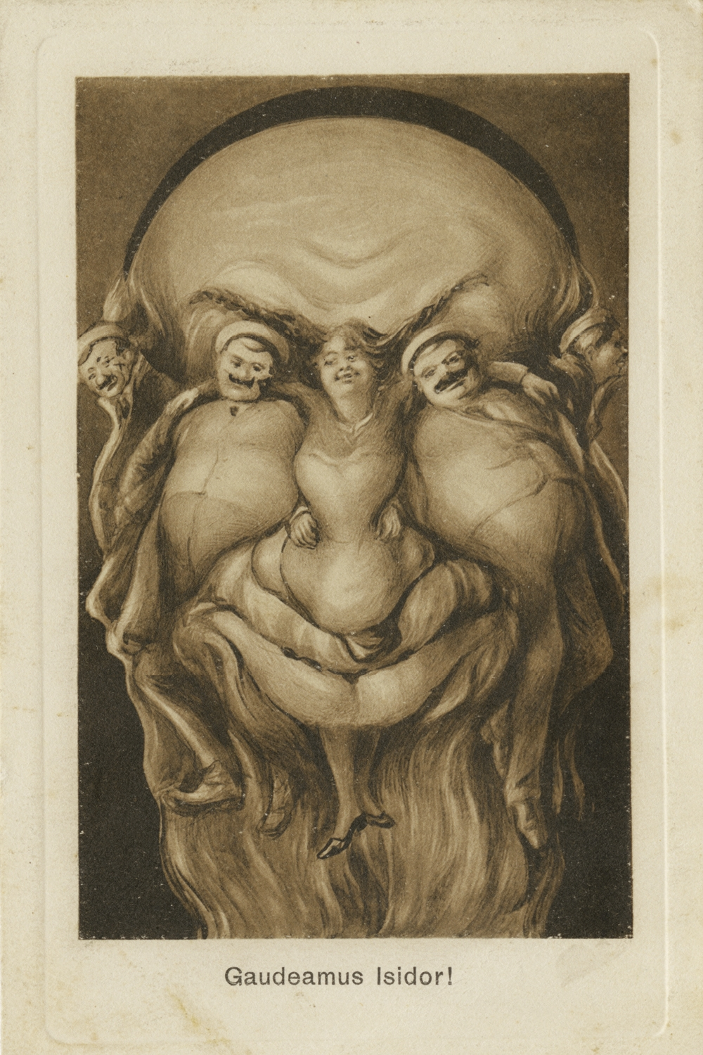 """Grotesque composite illustration of a Jewish face. Titled """"Gaudeamus Isidor!"""" ca. 1920"""