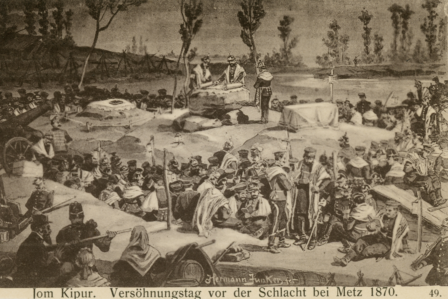 Yom Kippur. Day of Atonement before the Battle of Metz 1870.