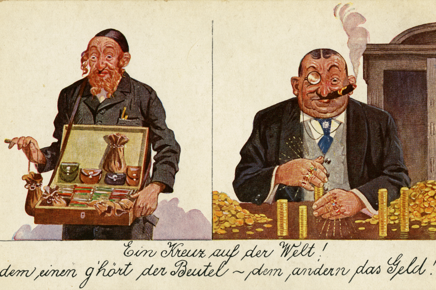 Anti-Semitic postcard that picks up on the myth of the Jewish financial rule, Germany, ca. 1910