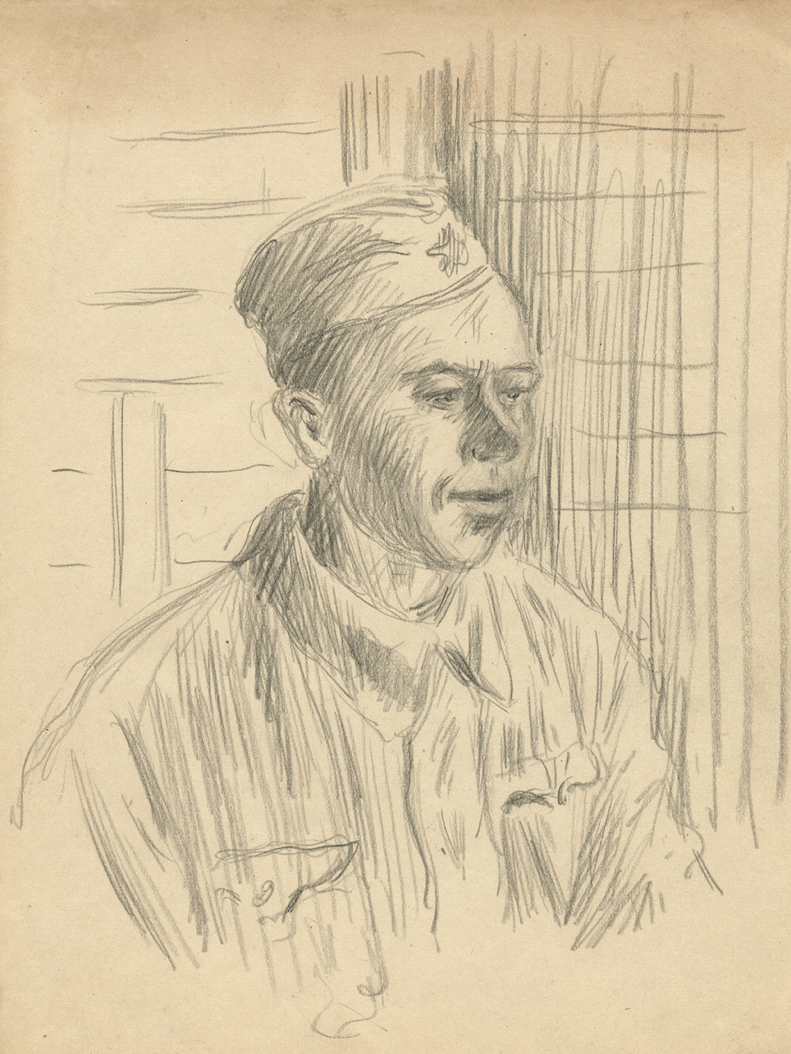 Sketch by Eugene Kogan of soldier.