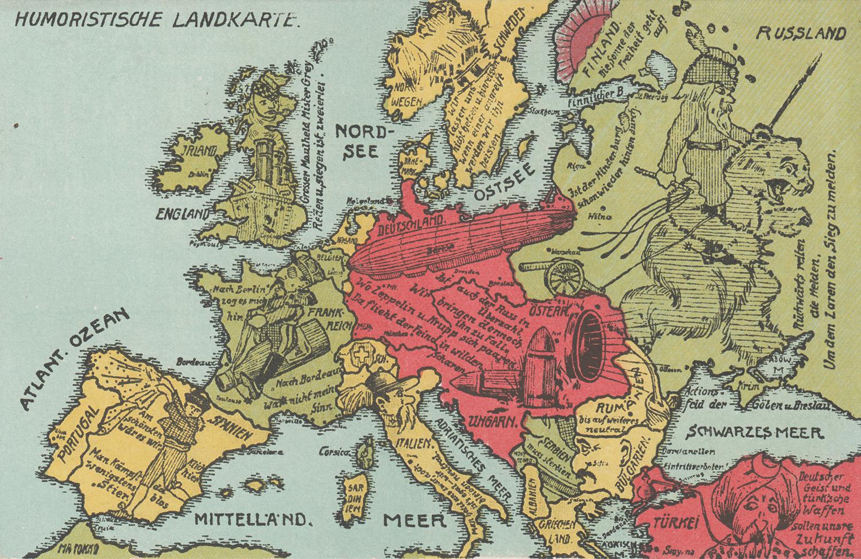 Humoristische Landkarte [Humourous Map]. ca. 1914-1918