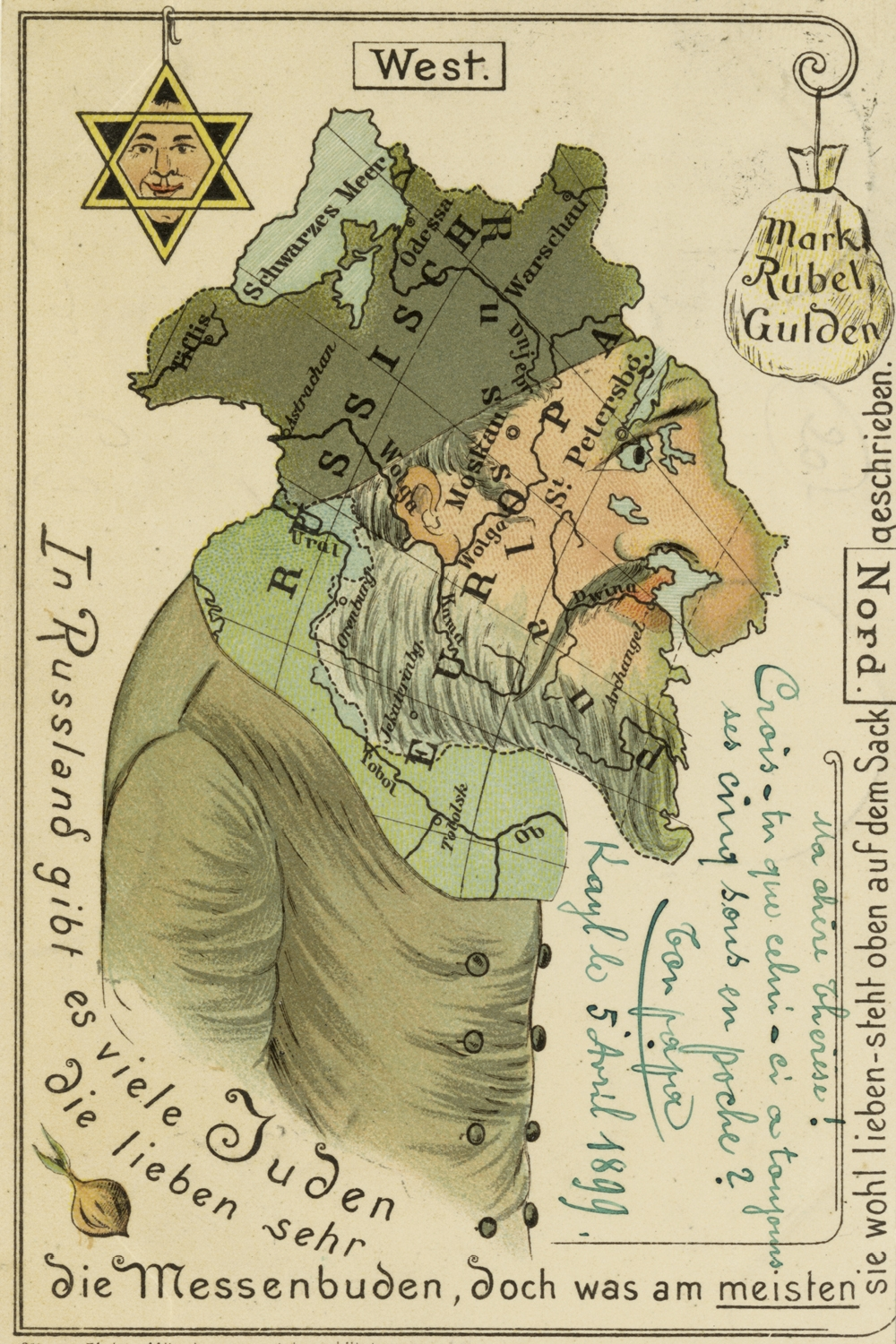 Anti-semitic illustration of a Jewish face as a map of Europe. ca. 1890s - 1910s