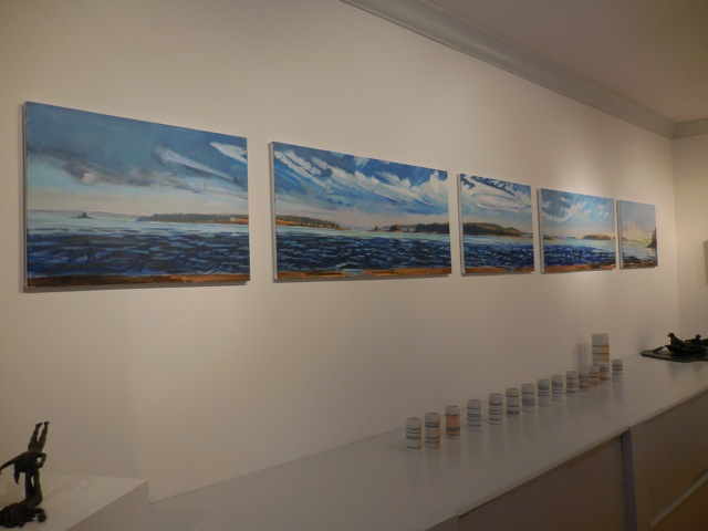 World Without End, oil on canvas by Louise Bourne, 14 Cups and a Pitcher by Eila Remelius, Ringlet by Basha Olson