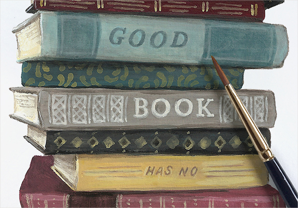 """A good book has no ending."" - Robert Frost / 4 x 4 inches"