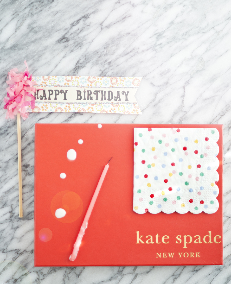 We used this colorful red Kate Spade box for a pop of color.