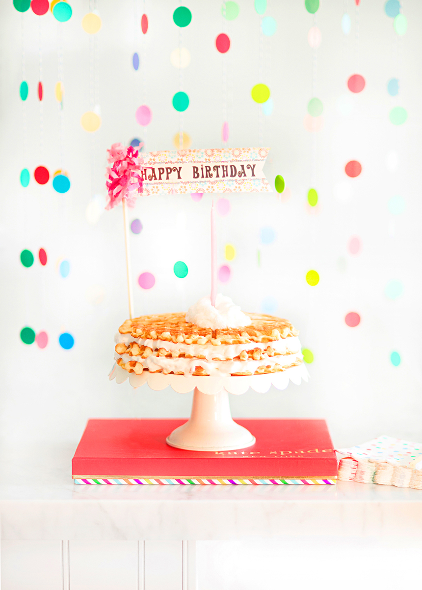 We love making waffles with whipped cream! This sweet Happy Birthday sign is from  Icing on the Cake , Los Gatos.