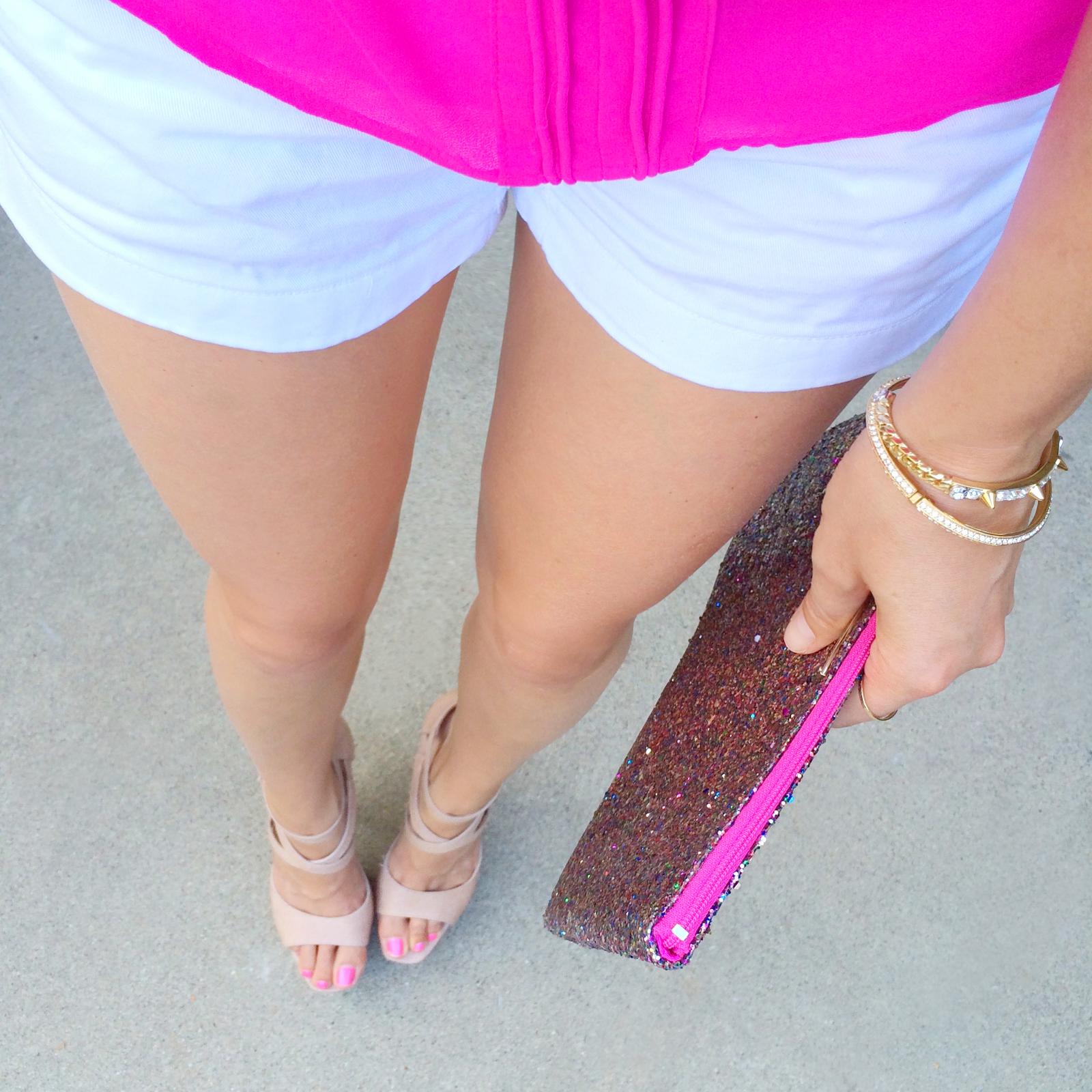 Jcrew white shorts, Alice & Olivia Heels, Kate Spade sparkle handbag