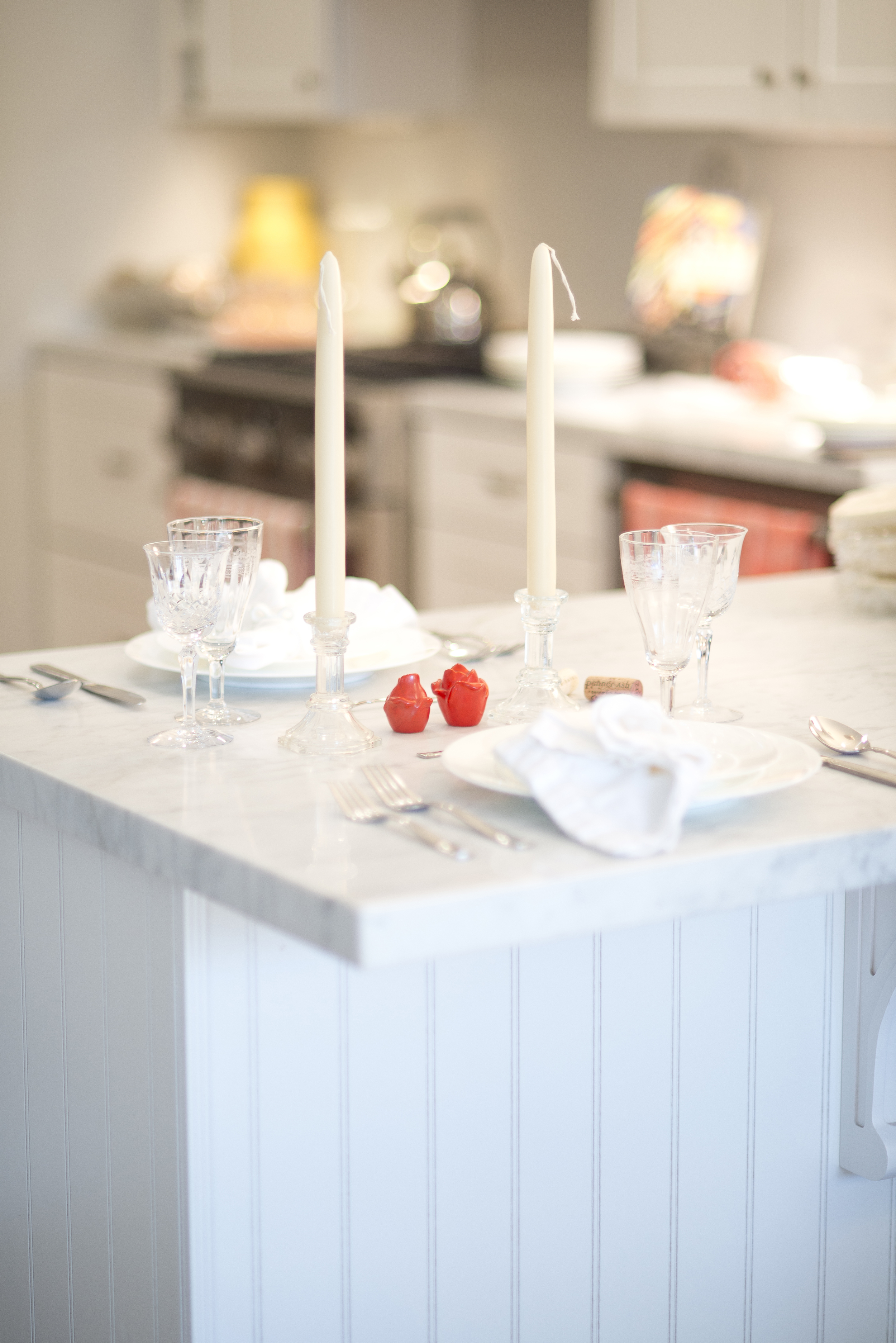 White dishes on white carrera marble countertops, we couldn't resist!