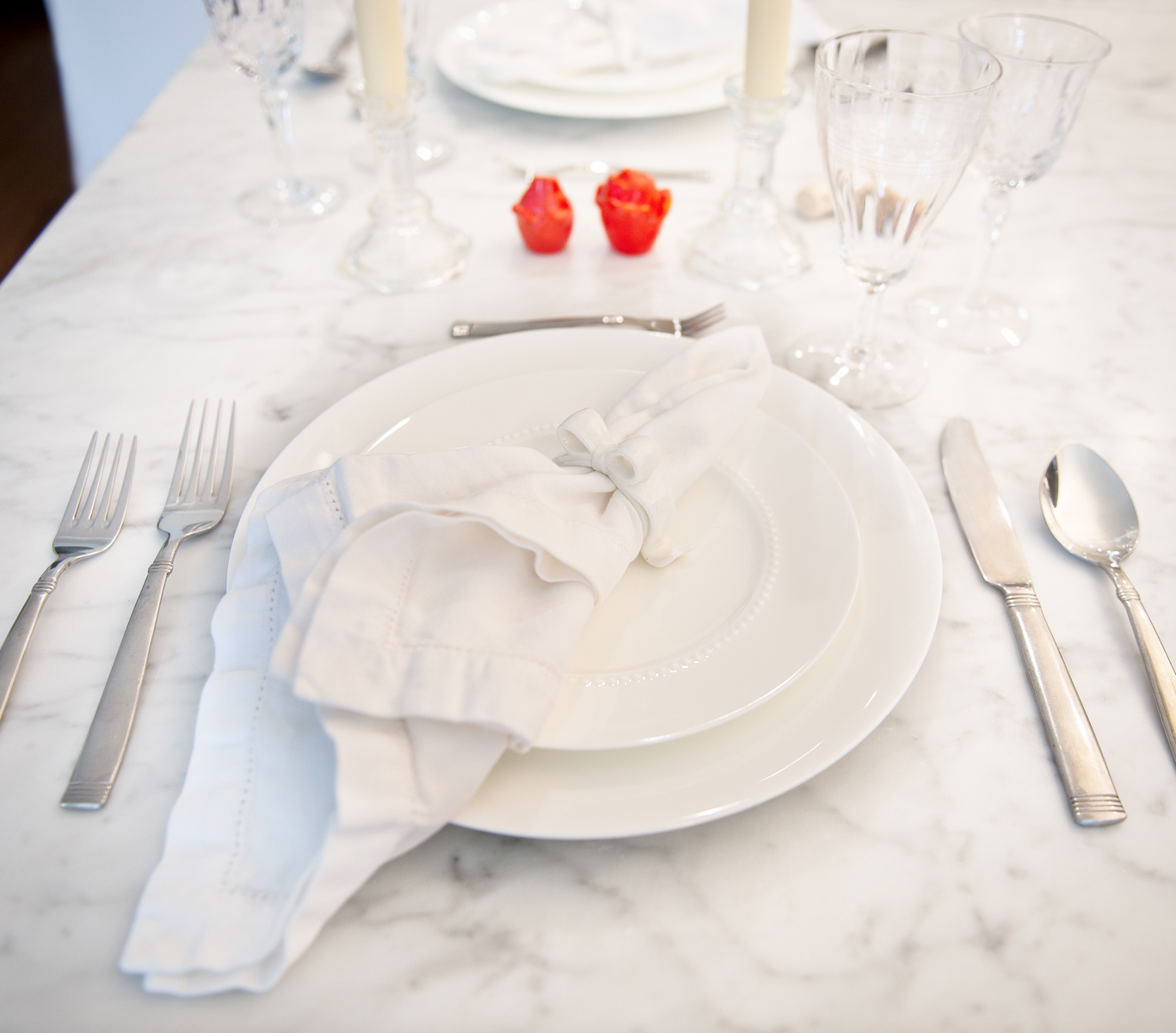 Inspired by these white bow napkin holders.