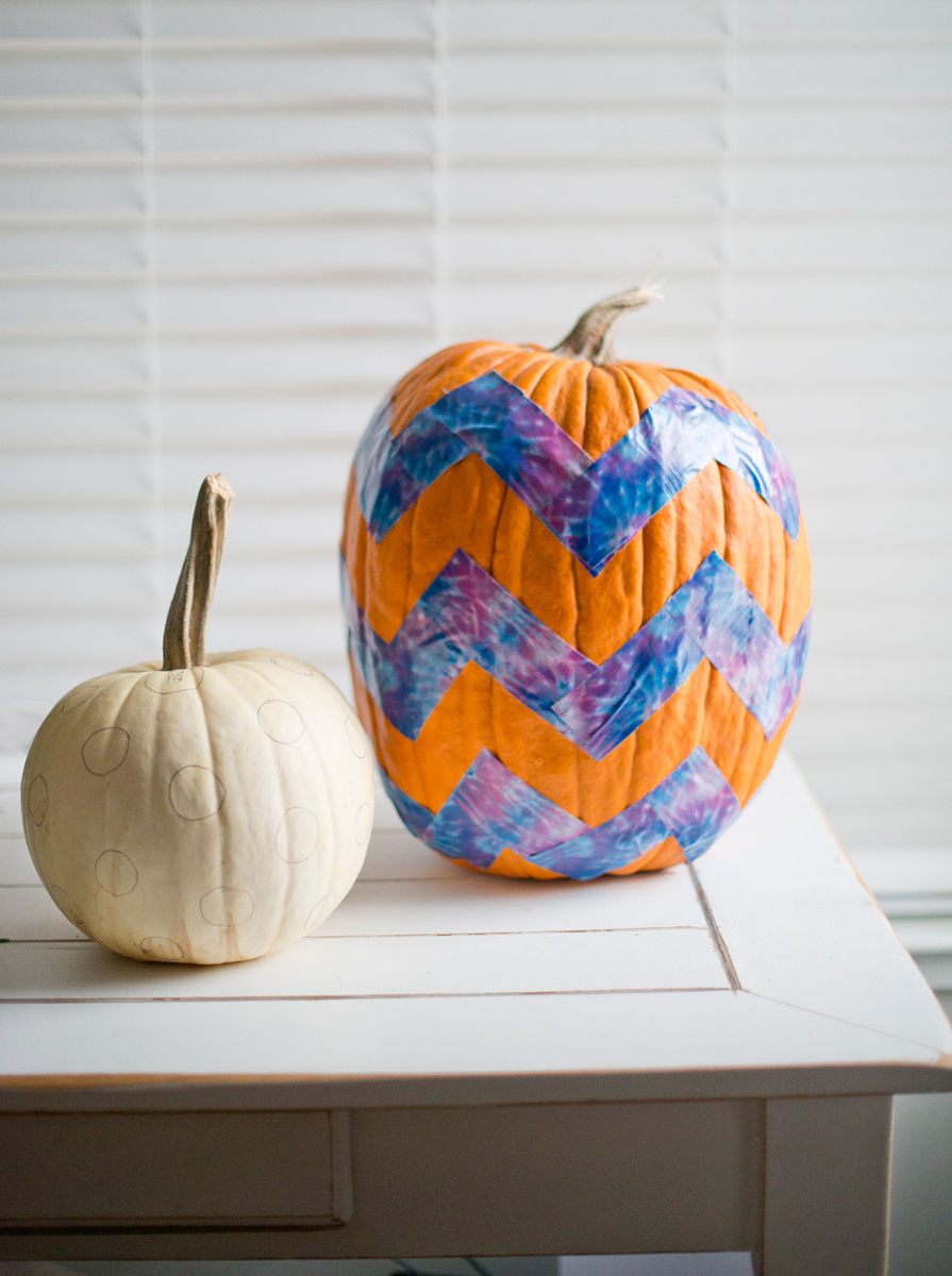 Steps to chevron painted pumpkins