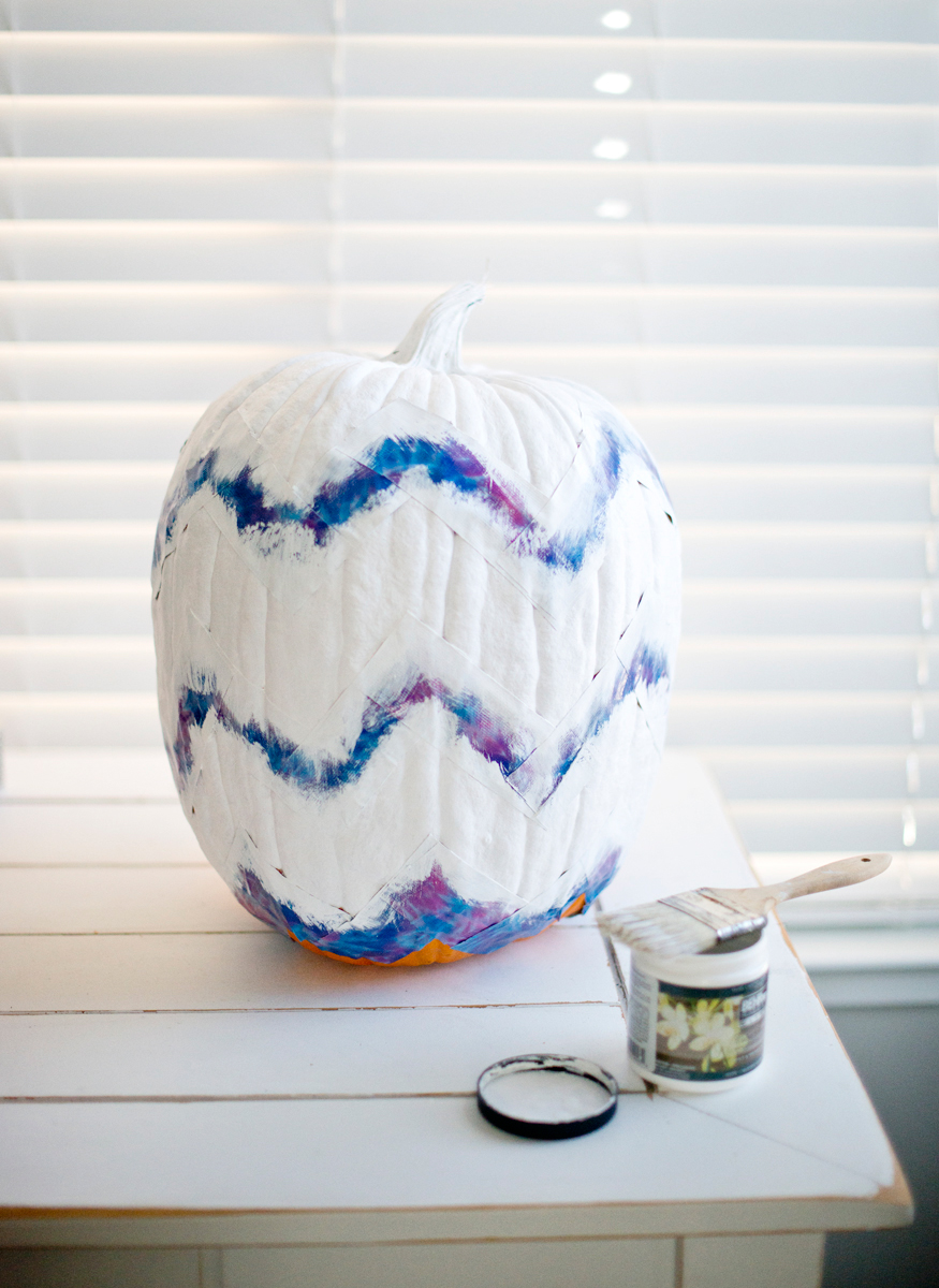How to paint a chevron pattern on pumpkins