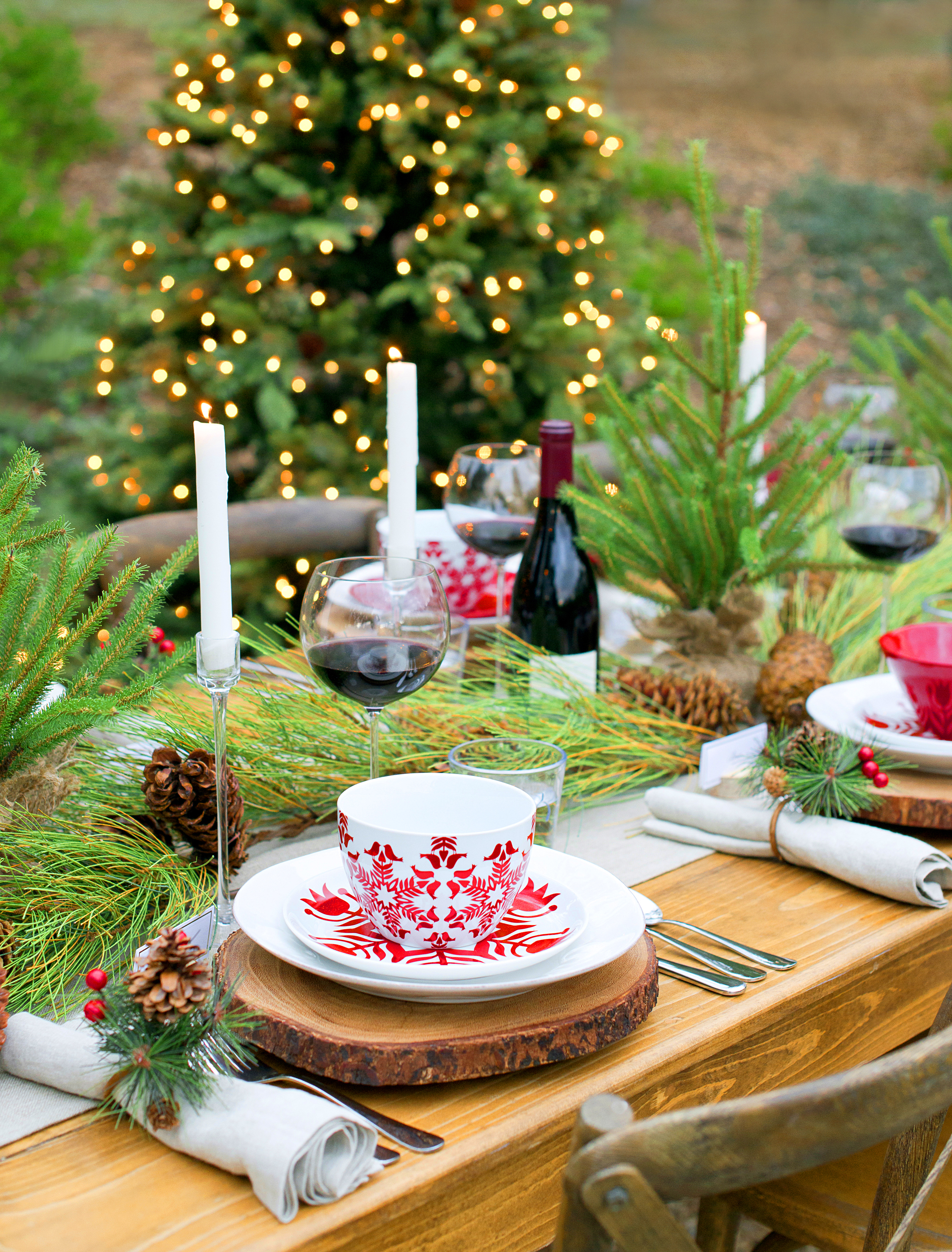 Crate & Barrel Christmas Tablescape with My Splendid Living - Christmas Amongst the Fir Cocktail party Blog post