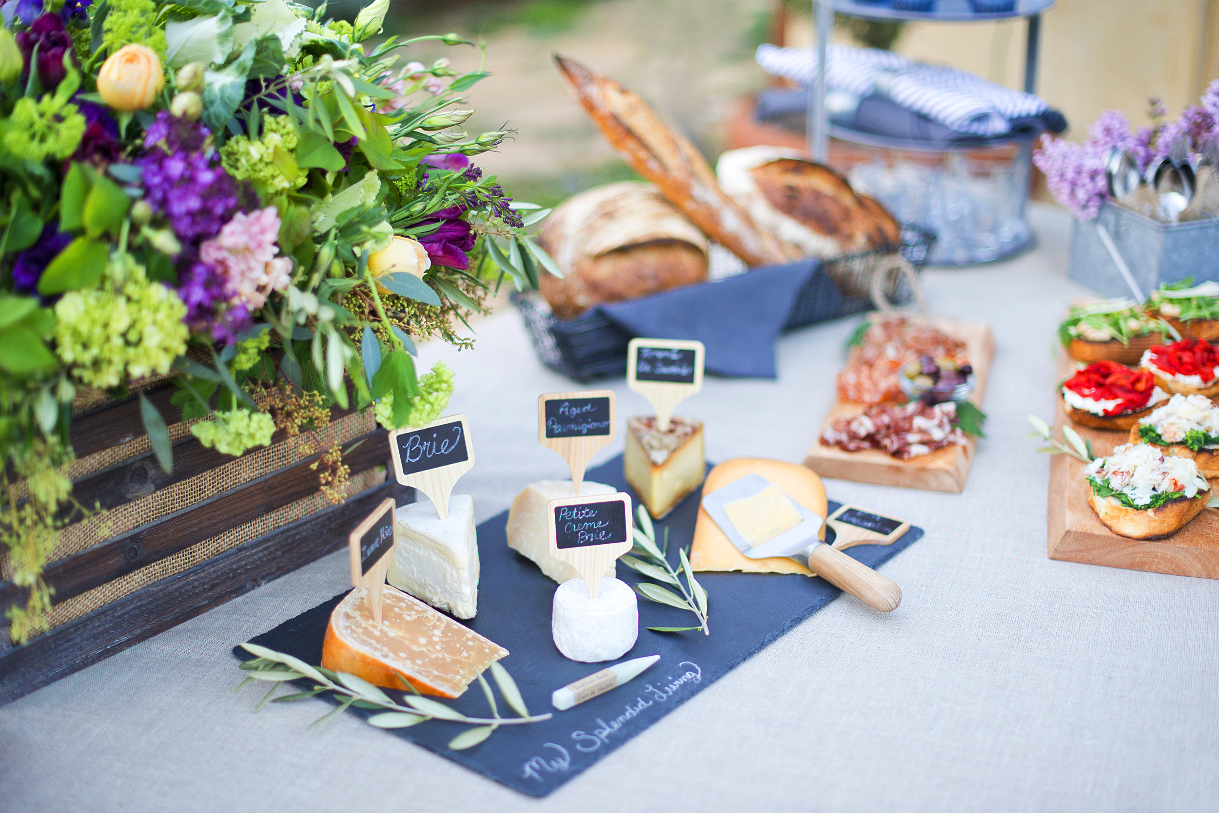 A lovely cheese spread to compliment a wine tasting party! Get more tips to host your own party.
