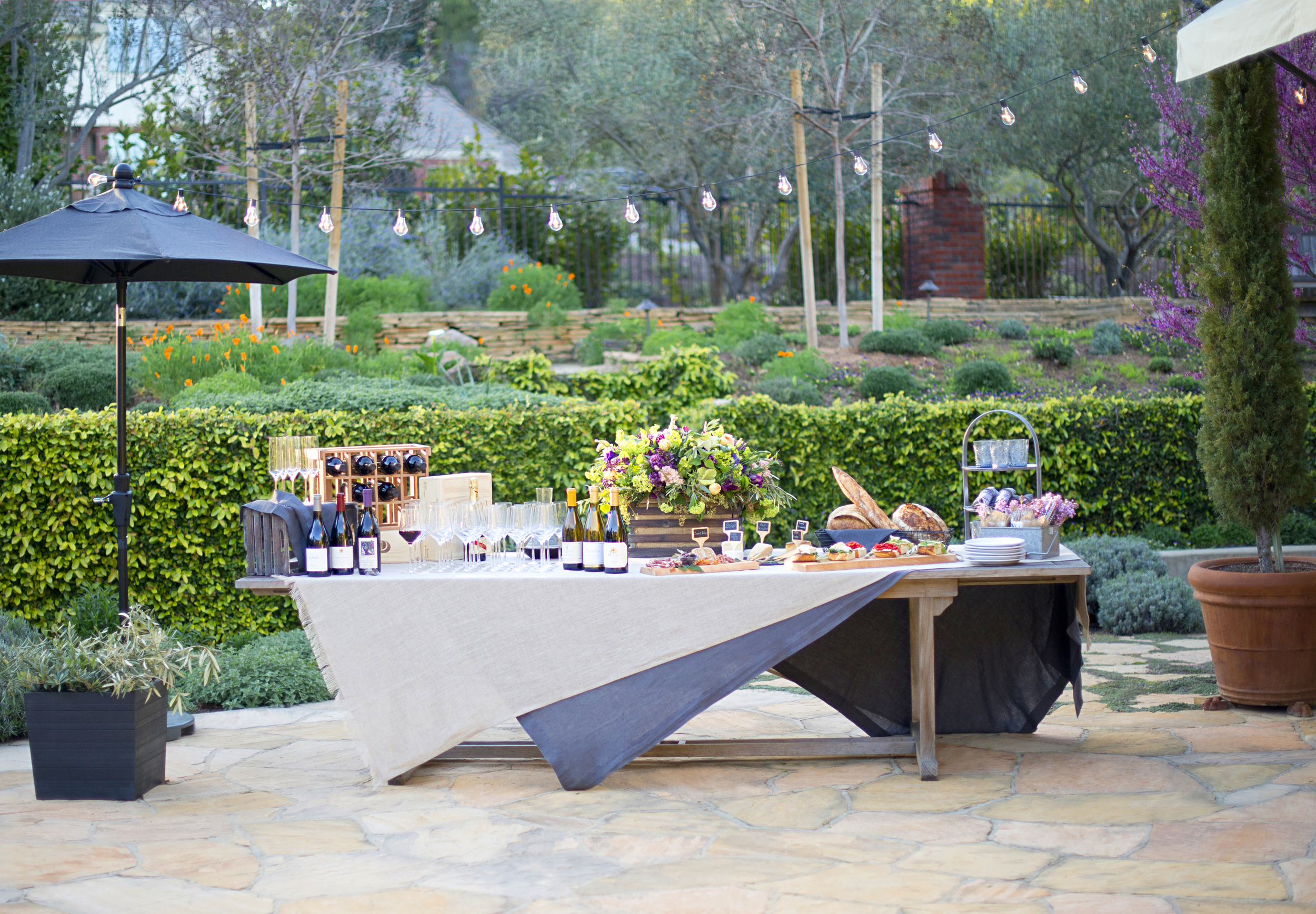 Wine Tasting Garden Party! Host your own with these tips and recipes.