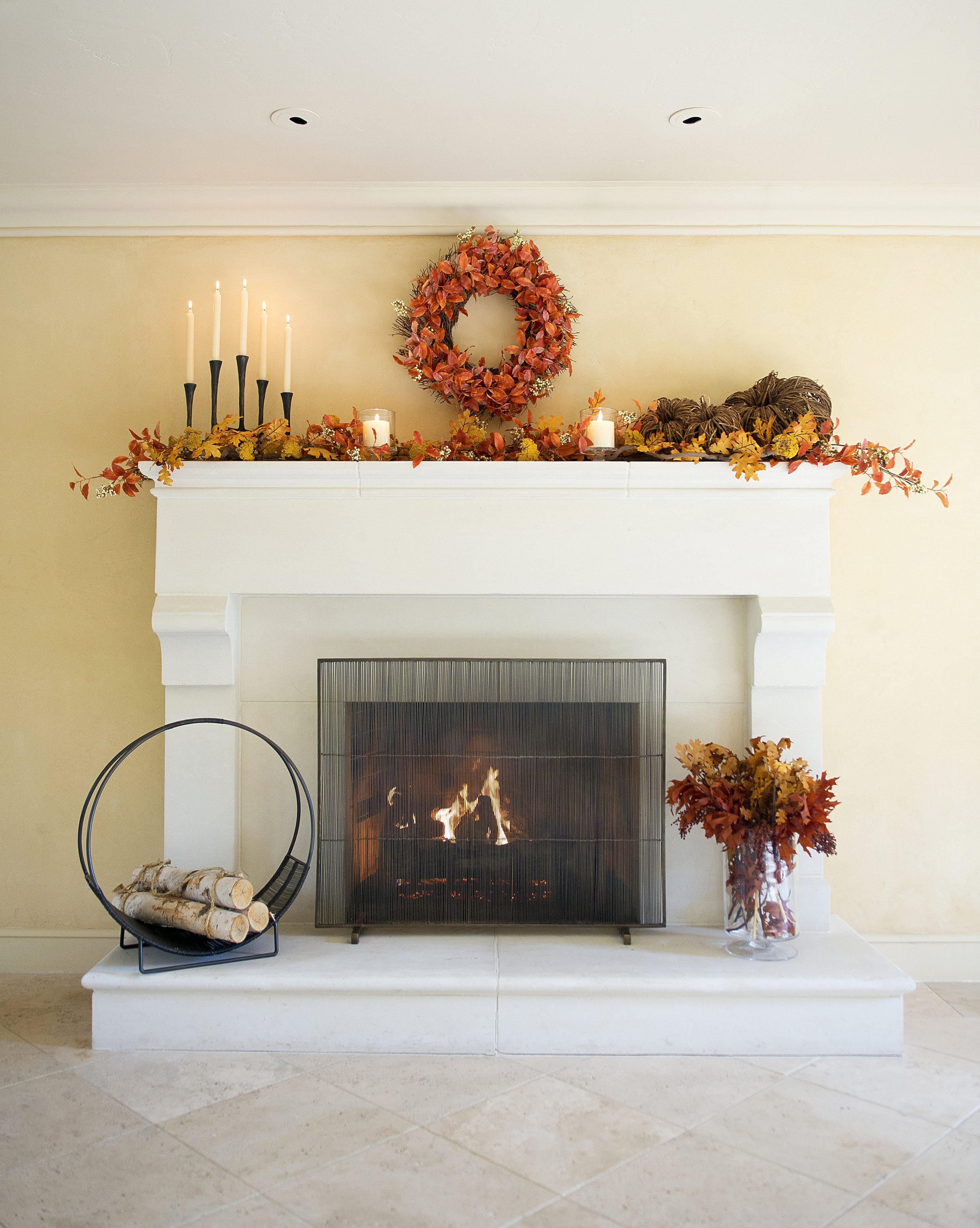 My Splendid Living- Rustic Fall Fireplace adorned with all things Crate & Barrel. #cratestyle