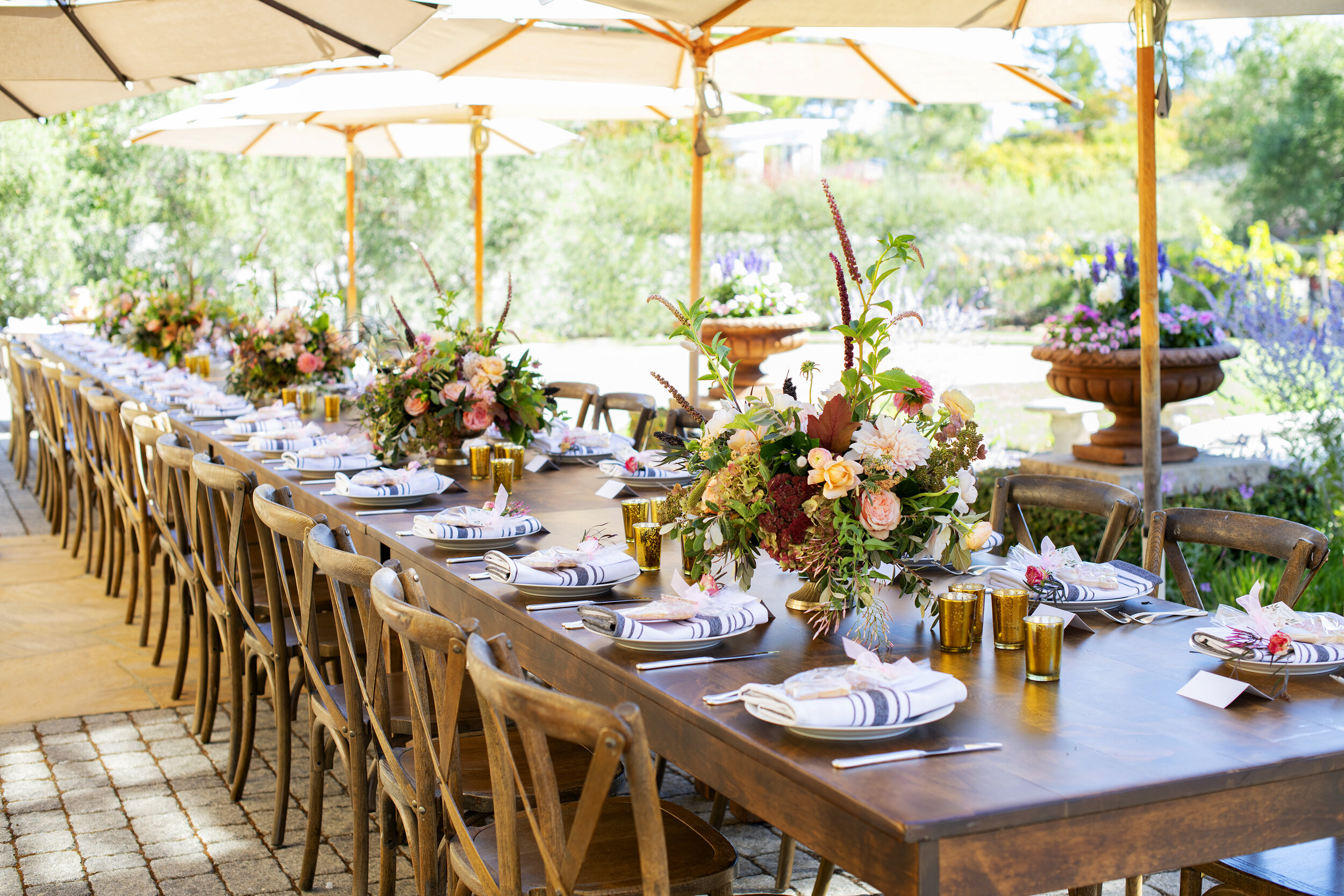 Fall Baby Shower- A long table among the vineyards and olive trees was a perfect setting for this fall tablescape....