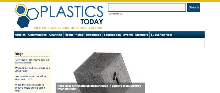 Home page of PlasticsToday.com