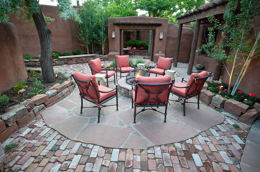 Brick and Stone Patio with Fire Feature