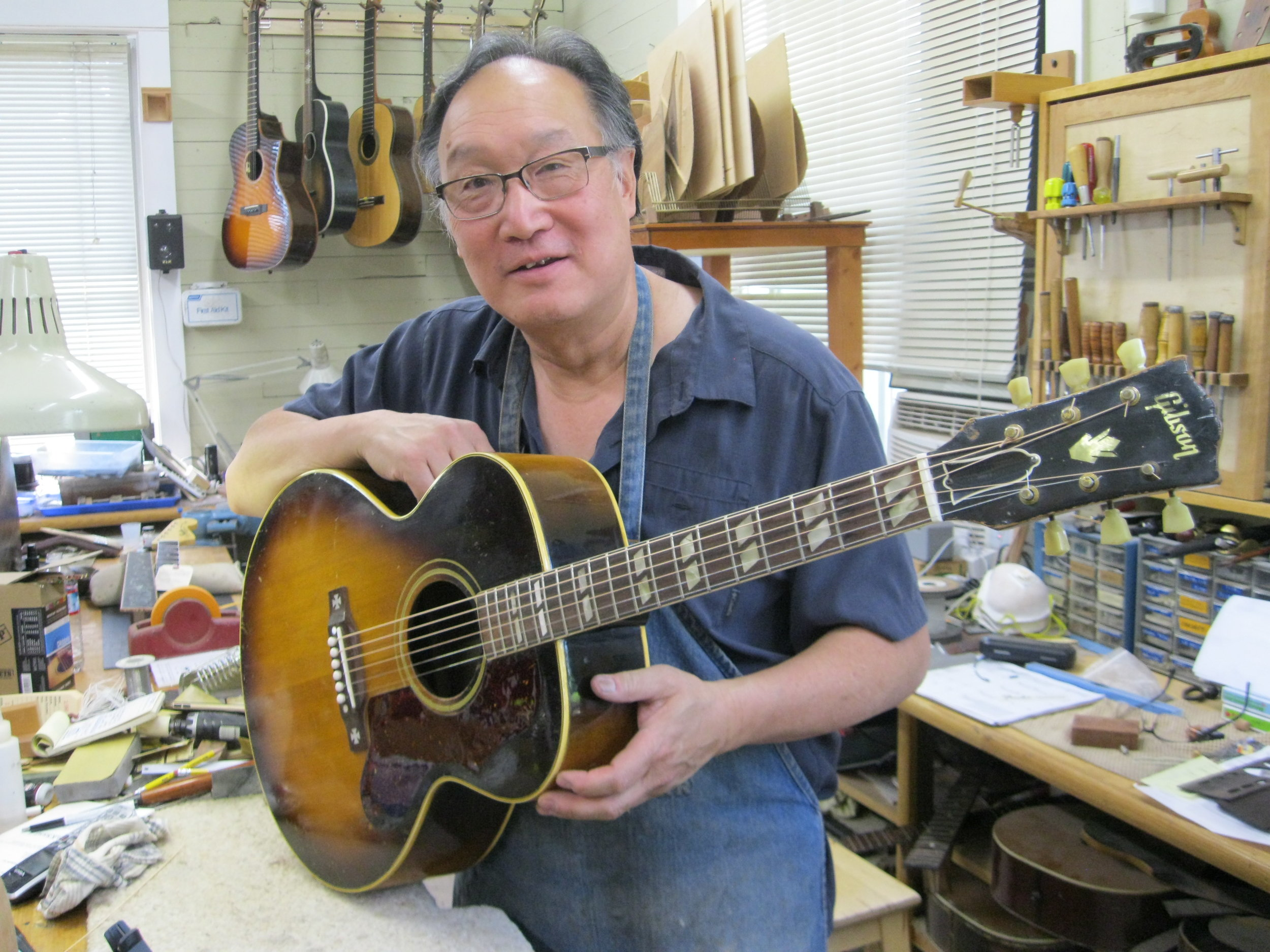 Portland luthier Kerry Char restored this 1952 Gibson J-185  that needed a neck reset, refret, loose braces and many more issues. He did a great job.