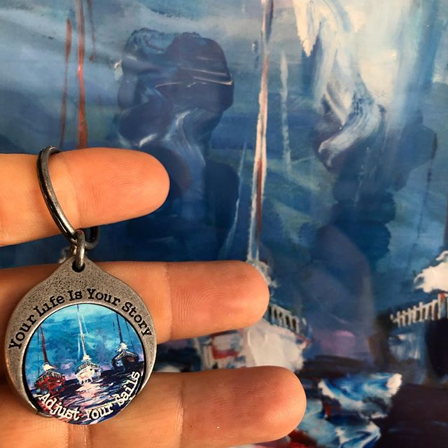 'You can't always control the storm that rolls in, but what you can do is adjust your sails.' . . . #story #storyteller #tellyourstory #mystorytellers #storycoin #coin #challengecoin #artwork #keychain #magnetic #interchangeable #jewelry #local #handcrafted #giveback #conquercancer #hopegrowshere #staycolorful #smallbusiness #boston #massachusetts #madeintheusa #mothersonteam #family #sail #sailing #adjustyoursails #nevergiveup #original #art @jonathanthepainter