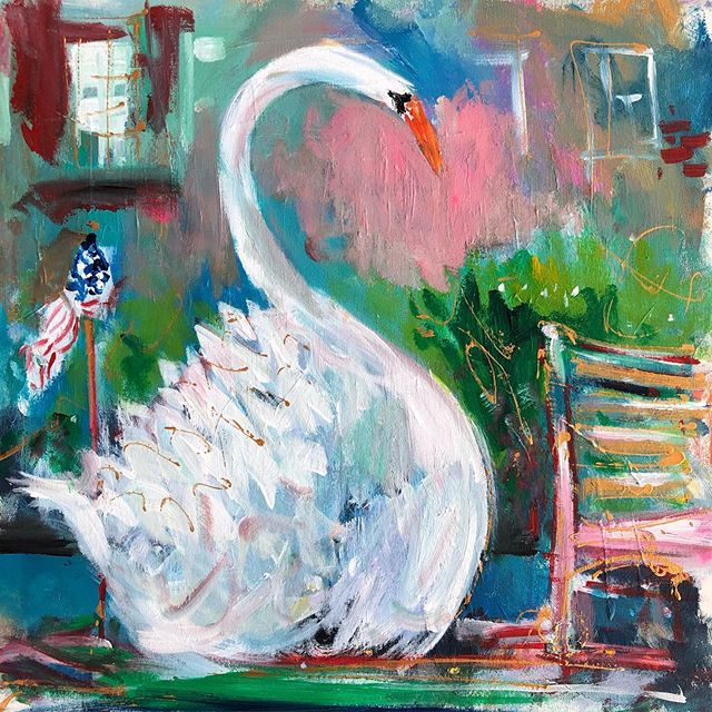 Swan 🦢 Boat 🚣♀️ Boston. . Three fun facts I learned while painting the swan boat... 1. Swans mate for life.  2. The swans in the  Boston public garden are both female. 3. It's A&W root beer's 100th anniversary . . #artoftheday #artistinresidence #mghcancercenter #boston #art #painting #giveback #hopegrowshere #hope #healing #conquercancer #artheals #colorful #staycolorful #painterwithoutborders #newengland #swans #swanboat #publicgarden #city #awrootbeer  #funfacts