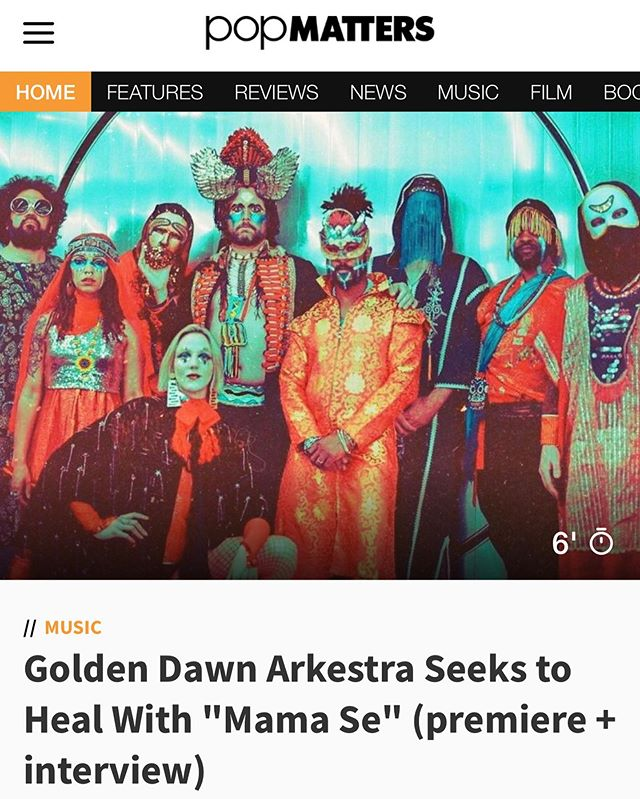 "@popmatters is premiering ""Mama Se"" — the new single from @goldendawnarkestra! The band's new LP 'Darkness Falls on the Edge of Time' is out Oct. 11 on @11arecords. - - ""On this album, I wanted to talk about how this could be the end for human beings if we don't get our shit together,"" bandleader Zapot Mgawi tells @popmatters, and ""Mama Se"" speaks to the idea of music as a healing force."" Listen via the link in profile! 🌎✨"
