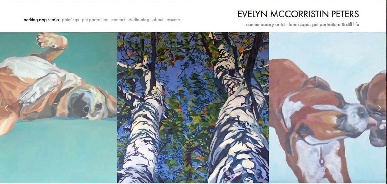 The new site for Barking Dog Creations and Evelyn McCPeters Art