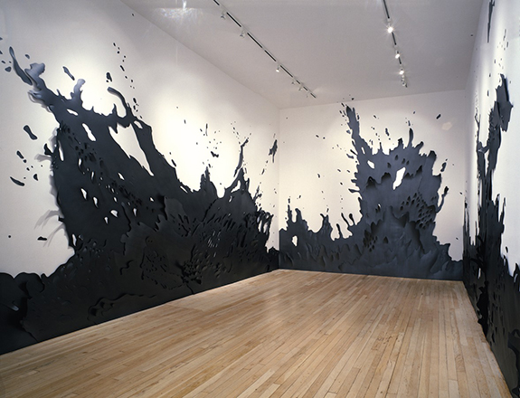 Andreas Kocks, Cannonball (#703G), Graphite on Watercolor Paper, 330 x 1670 x 13 cm. 2007.  Installation at Jeannie Freilich Fine Art, New York. Photography by Hermann Feldhaus
