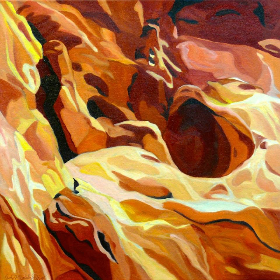 Zion Fire, Zion National Park, oil on gallery wrapped canvas, 20X20""