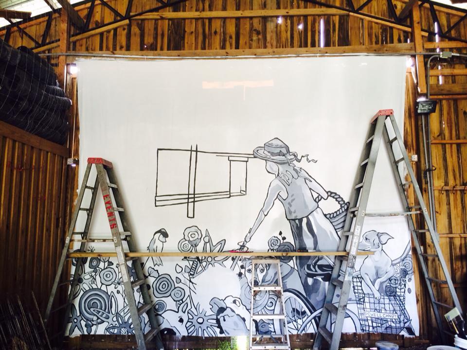 Flaunt Pop Up Mural Progress