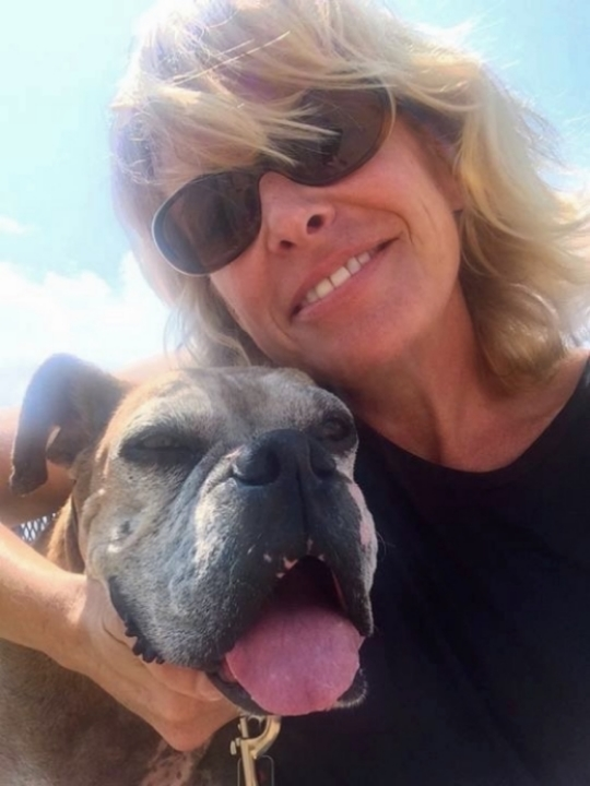 Evelyn and her rescued Boxer Abby