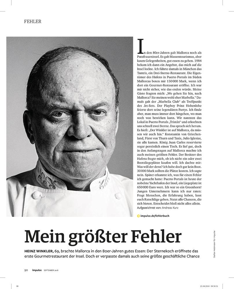 Portrait of cook Heinz WInkler