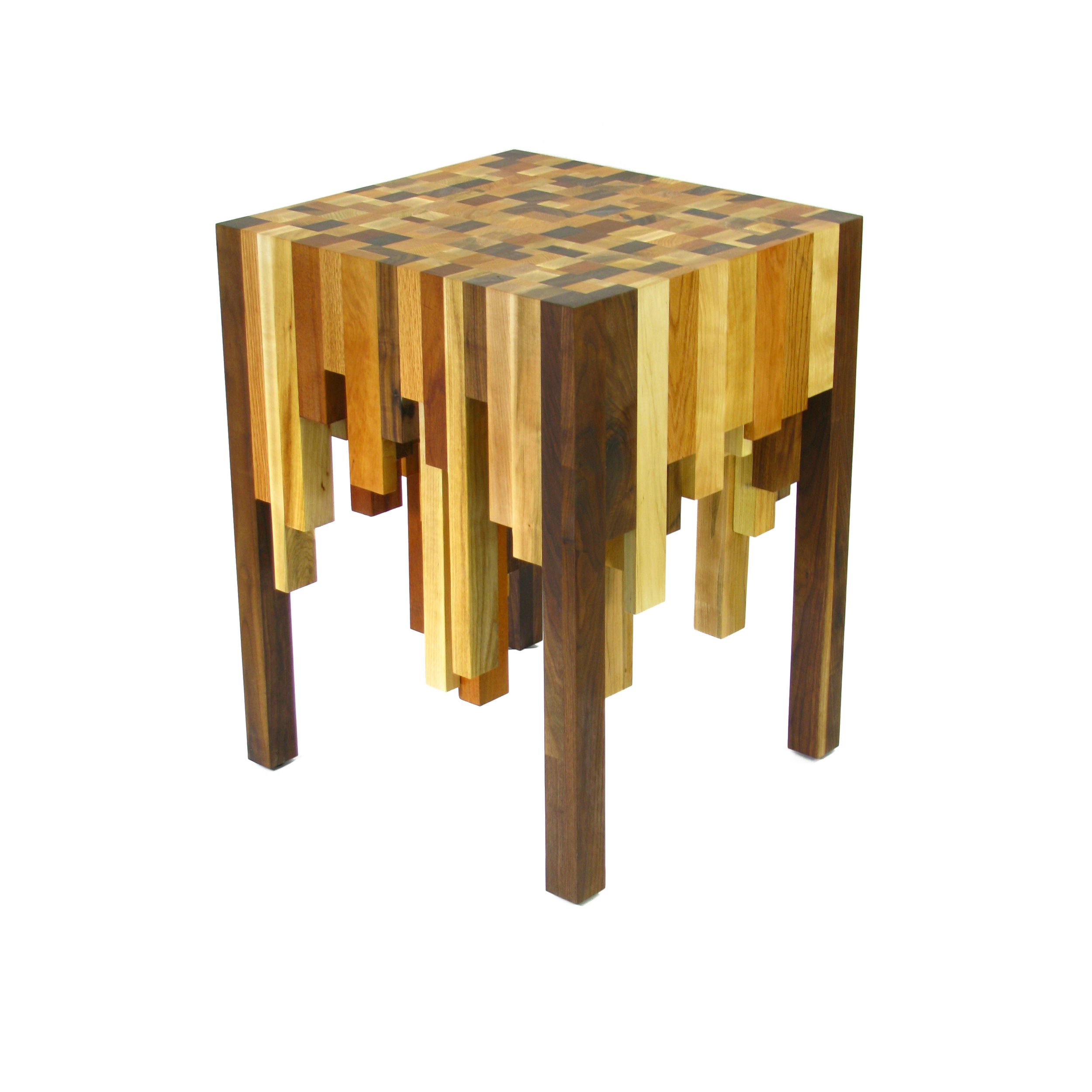 Multiple Species Butcher Block End Table