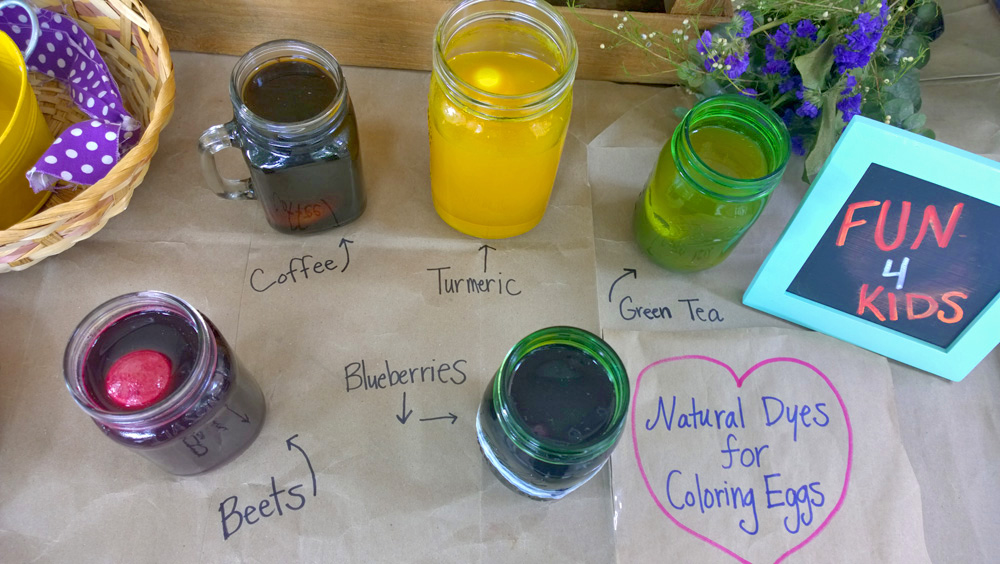 using fruits and veggies and spices for natural egg coloring