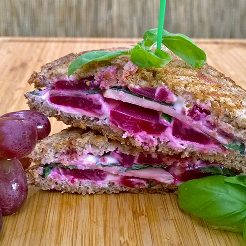 Pickled Beet Panini with Goat Cheese, Apple, and Basil