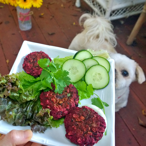 Beet and Black Bean Burgers with Cilantro