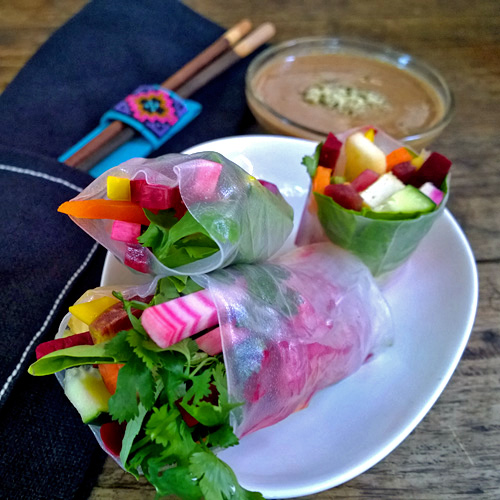 Beet Spring Rolls with Vegan Almond Butter, Lime and Ginger Sauce
