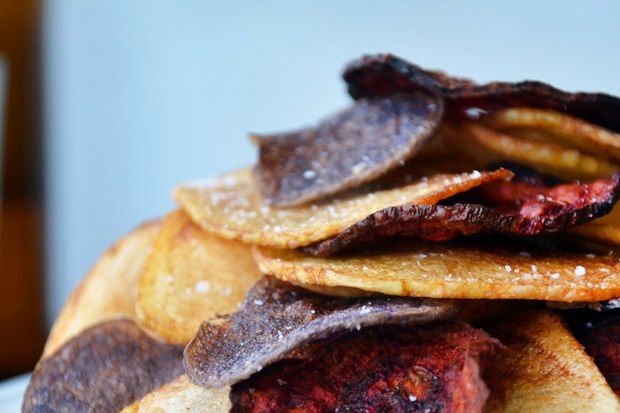 Red, White and Blue Potato and Beet Chips  by  Epicurious