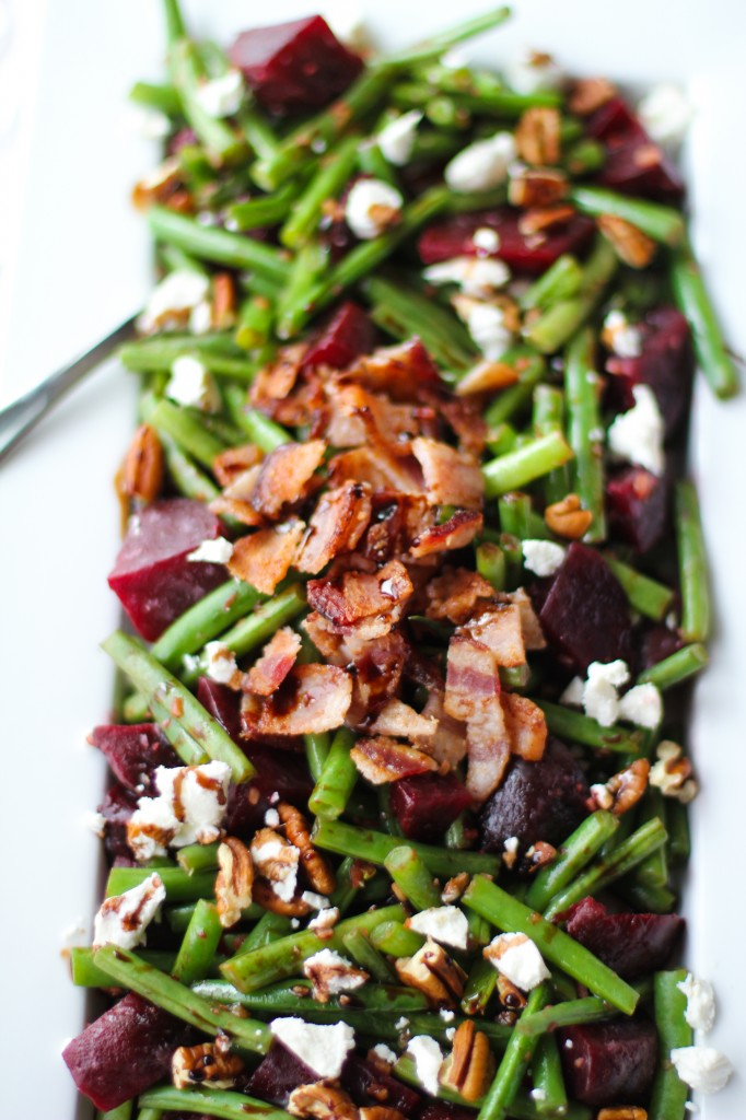 Balsamic Green Beans and Beets with Pecans, Bacon & Goat Cheese  by  Love Beets