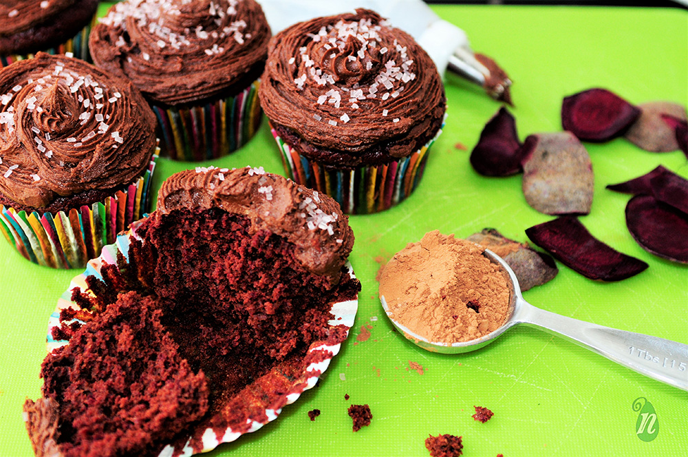Chocolate Red Velvet Beet Cupcakes with Chocolate Frosting