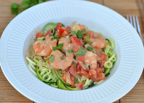 Shrimp Zoodles in Thai Coconut Sauce  by  To Simply Inspire