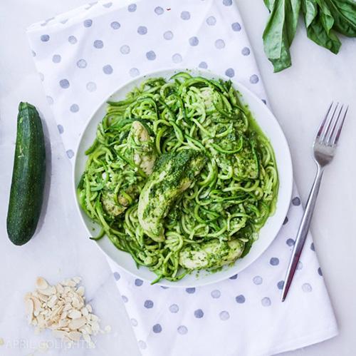 Chicken Zucchini Pasta with Almond Pesto  by  April Go Lightly