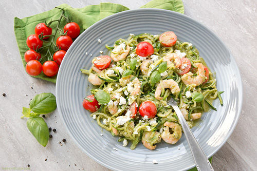Pesto Zucchini Noodles  by  The Petite Cook